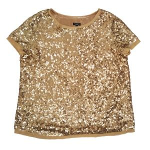 NWT Talbots 14 Sequined Silk Short Sleeve Top